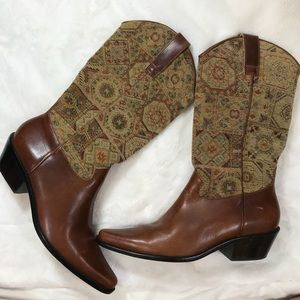 Matisse Leather & Tapestry Western Boots